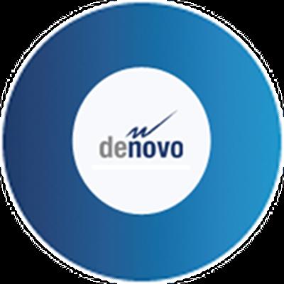 """Bild eines blauen Kreises mit dem Text """"denovo"""" in der Mitte"""