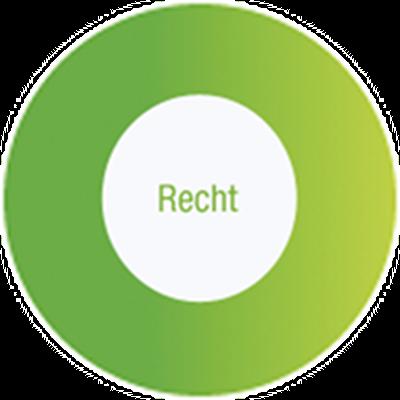 """Bild eines grünen Kreises mit dem Text """"Recht"""" in der Mitte"""