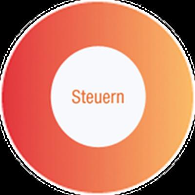 """Bild eines orangen Kreises mit dem Text """"Steuern"""" in der Mitte"""